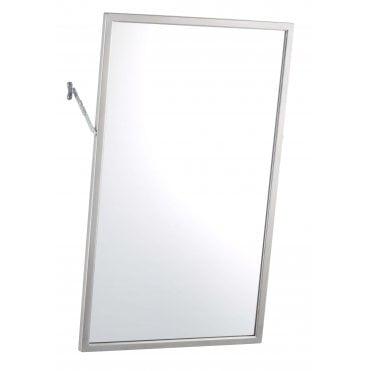 Bobrick B 294 Tilting Bathroom Mirror, Brushed Steel Bathroom Mirror